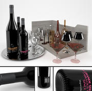 Butelki wina + przyciemniane kieliszki 3d model