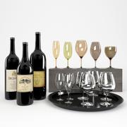 Butelki wina + przyciemniane kieliszki 2 3d model