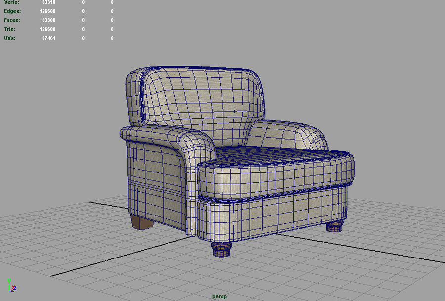 Notting Hill chair royalty-free 3d model - Preview no. 5