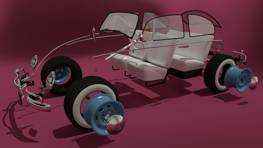 VW Beetle 1965 royalty-free modelo 3d - Preview no. 1