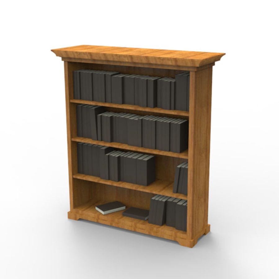 Bookshelf with books royalty-free 3d model - Preview no. 1