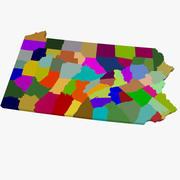 County Map - Pennsylvania 3d model