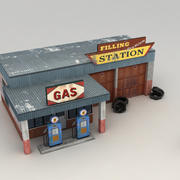 Gas station low poly 3d model