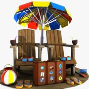 Cartoon Beach Items 2 3d model