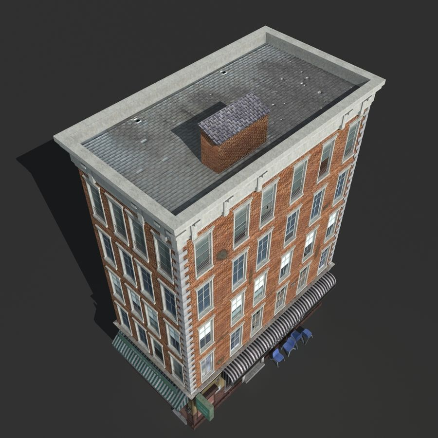 Kamienica Low-poly royalty-free 3d model - Preview no. 9
