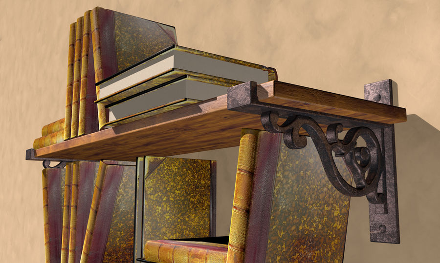 Old Bookshelf royalty-free 3d model - Preview no. 3