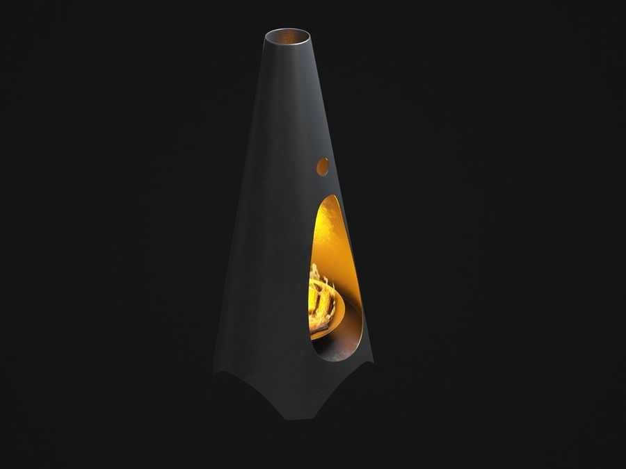 Chimenea moderna royalty-free modelo 3d - Preview no. 4