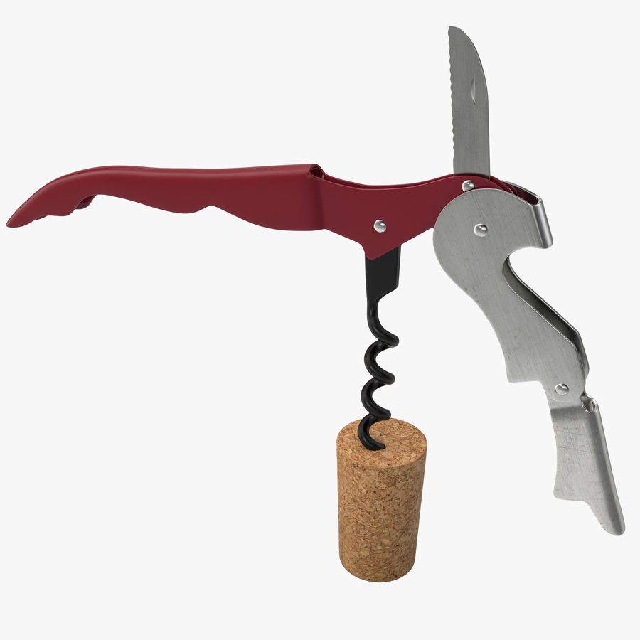Double Hinged Wine Key royalty-free 3d model - Preview no. 1