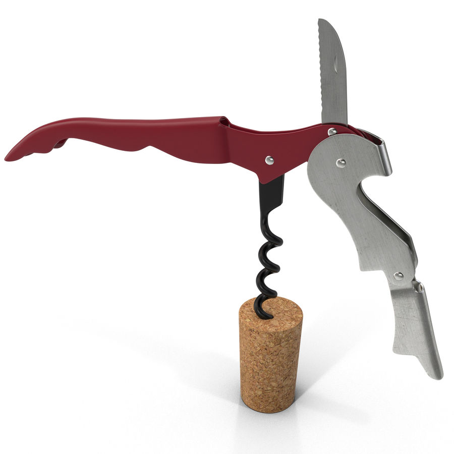 Double Hinged Wine Key royalty-free 3d model - Preview no. 2
