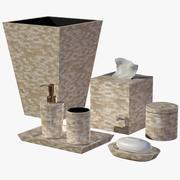 Zestaw akcesoriów łazienkowych mozaika perłowa muszla 3d model