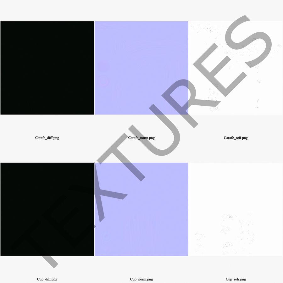 水デカンタとガラス royalty-free 3d model - Preview no. 17