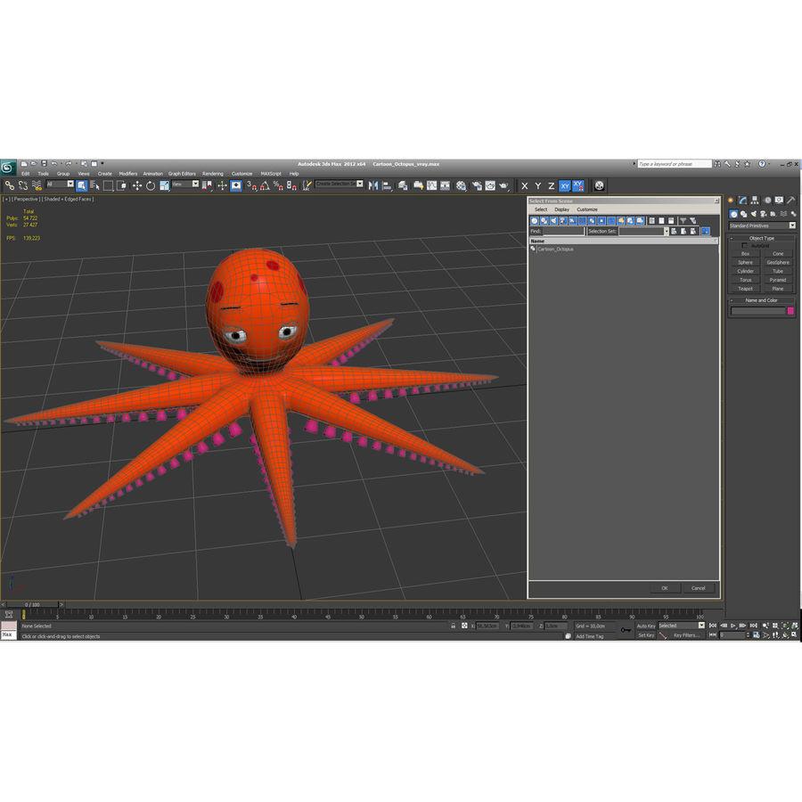 Cartoon Octopus royalty-free 3d model - Preview no. 26