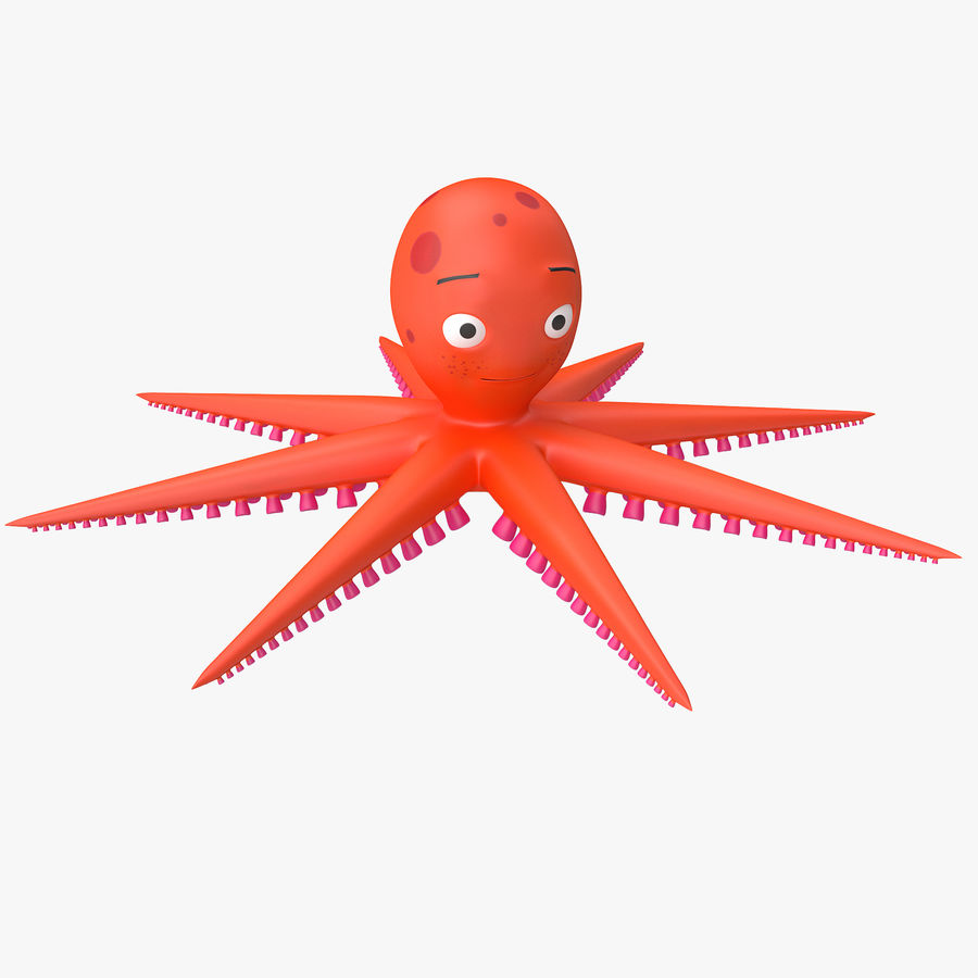 Cartoon Octopus royalty-free 3d model - Preview no. 1