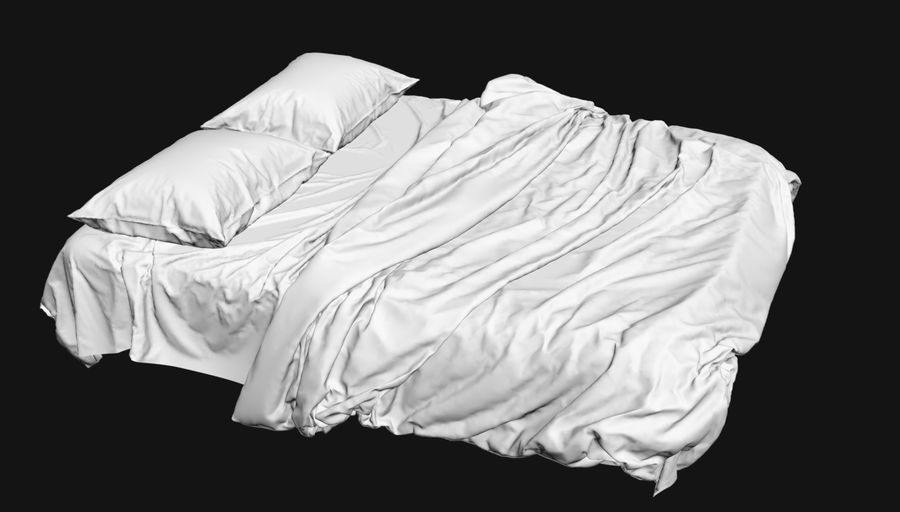 Bed met vouwen hoog poly royalty-free 3d model - Preview no. 2