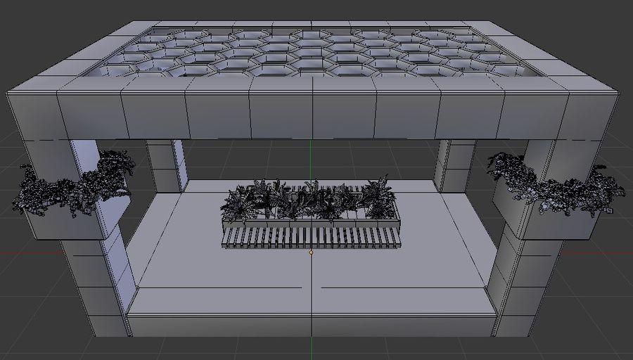 (Belangrijke structuren komen snel terug na verbeteringen) Kubusvormig prieelbankgebied royalty-free 3d model - Preview no. 5