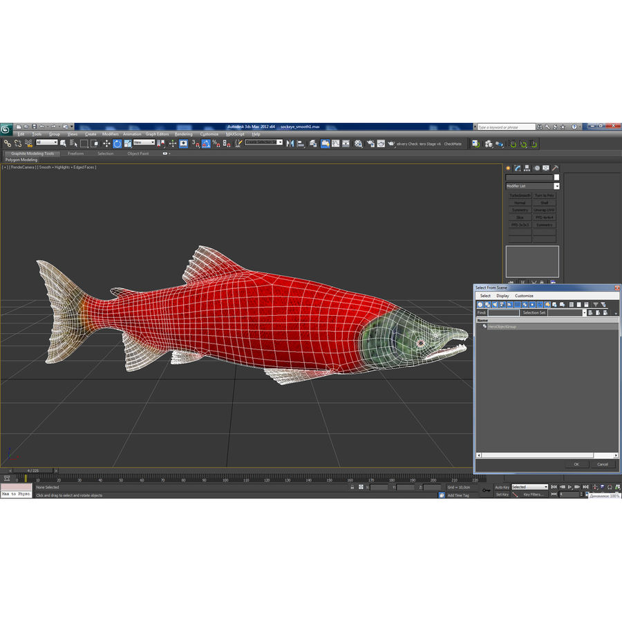 Sockeye Somon Balığı royalty-free 3d model - Preview no. 28