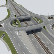 roundabout bridge with highway 3d model