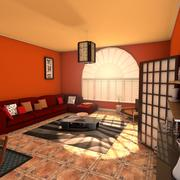 Zen Living Room Eclectic Interior Design 3d model