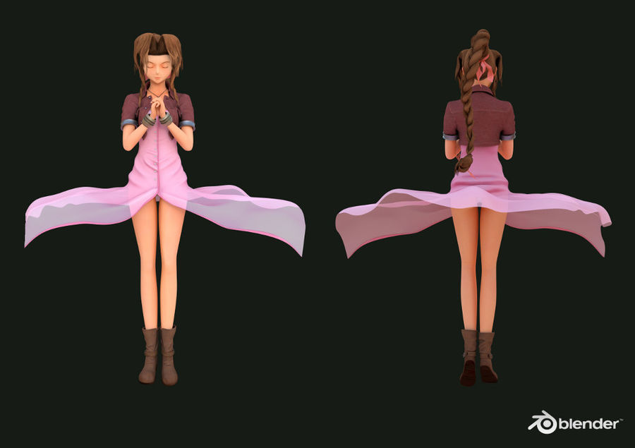 Aerith Gainsborough (ff7) (1) royalty-free 3d model - Preview no. 1