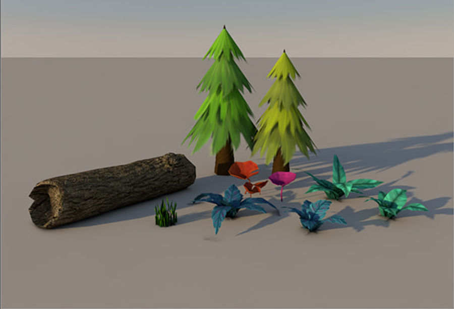 Plant pack (low poly) royalty-free 3d model - Preview no. 1