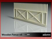 Clôture en bois 06 3d model