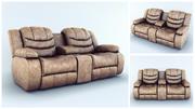Sofa Ashley Revolution Burgundy, 2 siedzenia 3d model