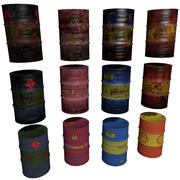 Oil Barrels Collection 3d model