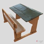구식 책상 3d model