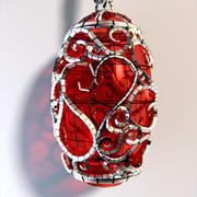 Organic Heart Pendant 3d model