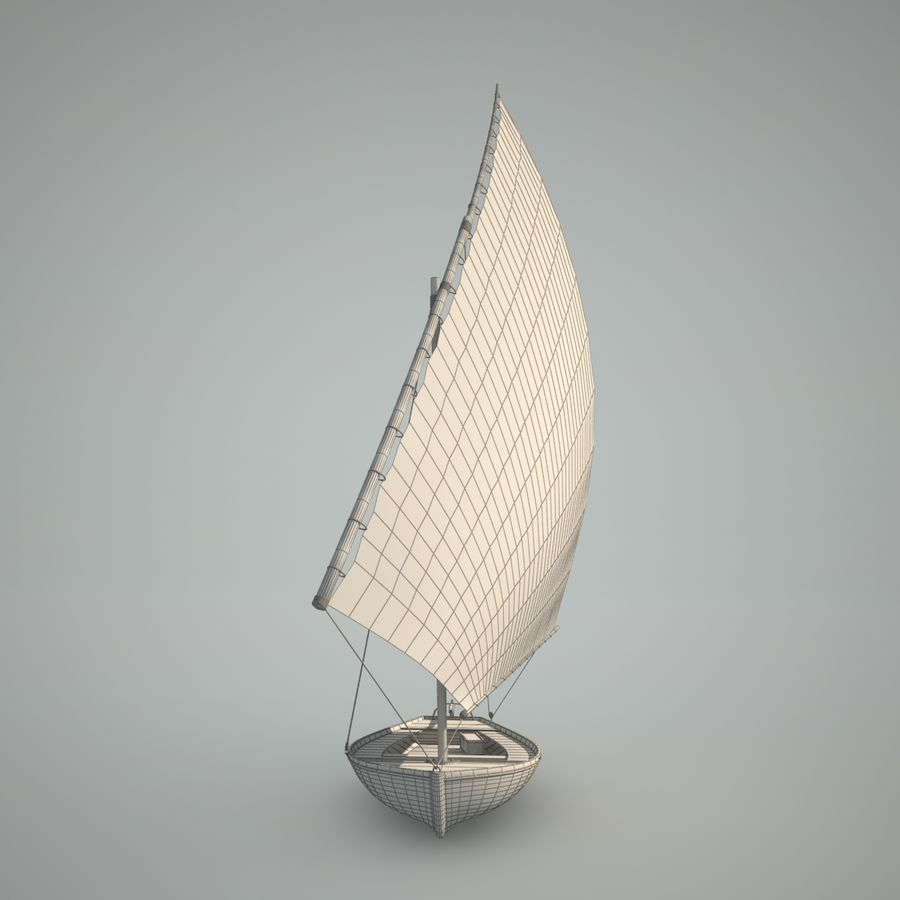 Felucca Segelboot royalty-free 3d model - Preview no. 9