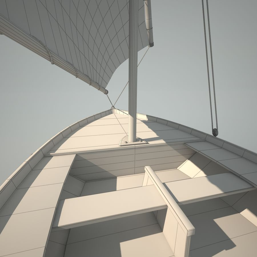 Felucca Segelboot royalty-free 3d model - Preview no. 11