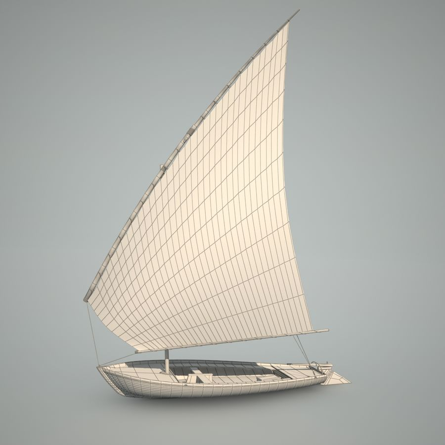 Felucca Segelboot royalty-free 3d model - Preview no. 7