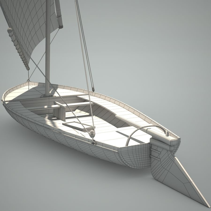 Felucca Segelboot royalty-free 3d model - Preview no. 5