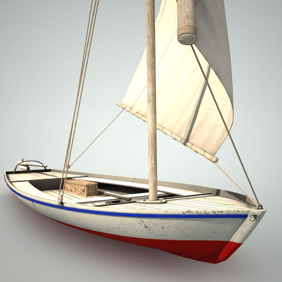 Felucca Segelboot royalty-free 3d model - Preview no. 3