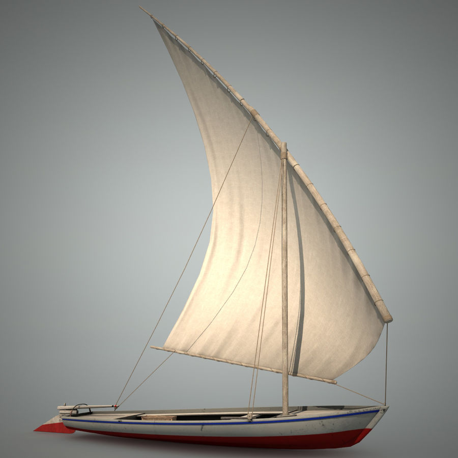 Felucca Segelboot royalty-free 3d model - Preview no. 2