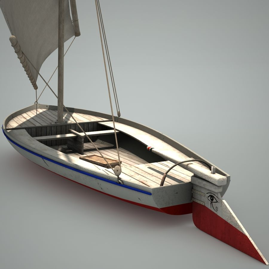 Felucca Segelboot royalty-free 3d model - Preview no. 4