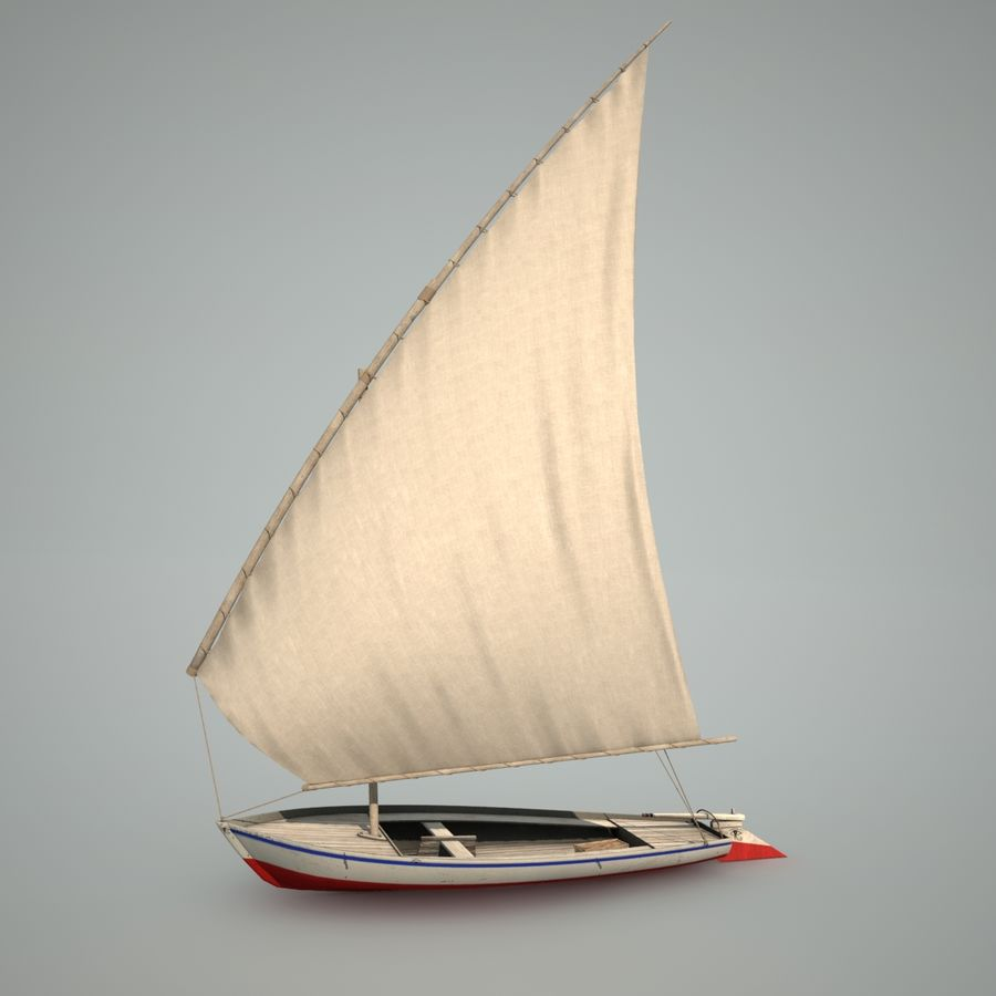 Felucca Segelboot royalty-free 3d model - Preview no. 6