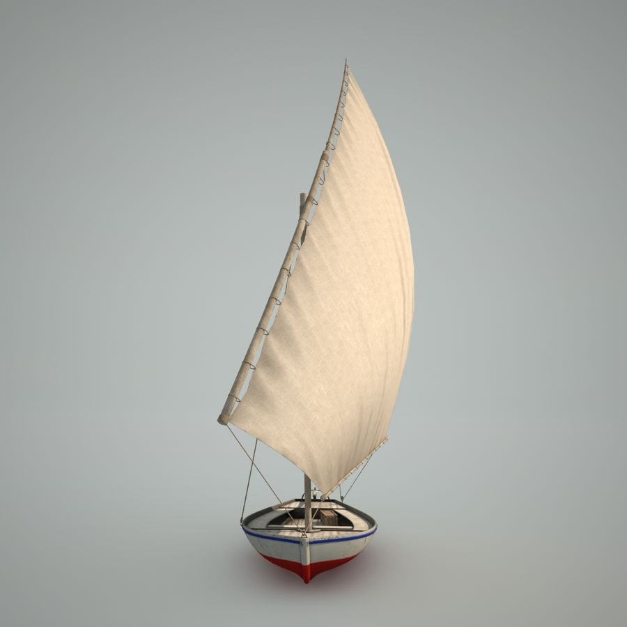 Felucca Segelboot royalty-free 3d model - Preview no. 8