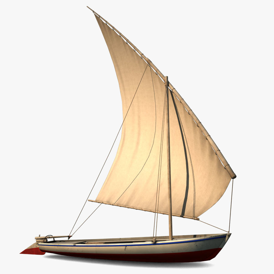 Felucca Segelboot royalty-free 3d model - Preview no. 1