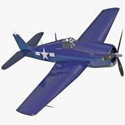 Avion de chasse Grumman F6F Hellcat Rigged 3d model