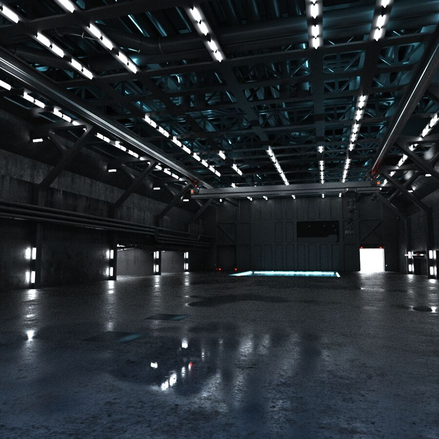 Hangar Sci Fi royalty-free 3d model - Preview no. 3