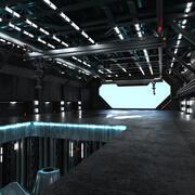 科幻机库 3d model