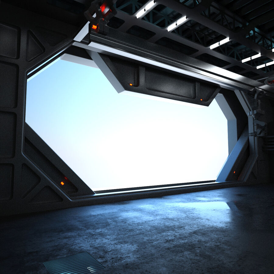 Hangar Sci Fi royalty-free 3d model - Preview no. 13