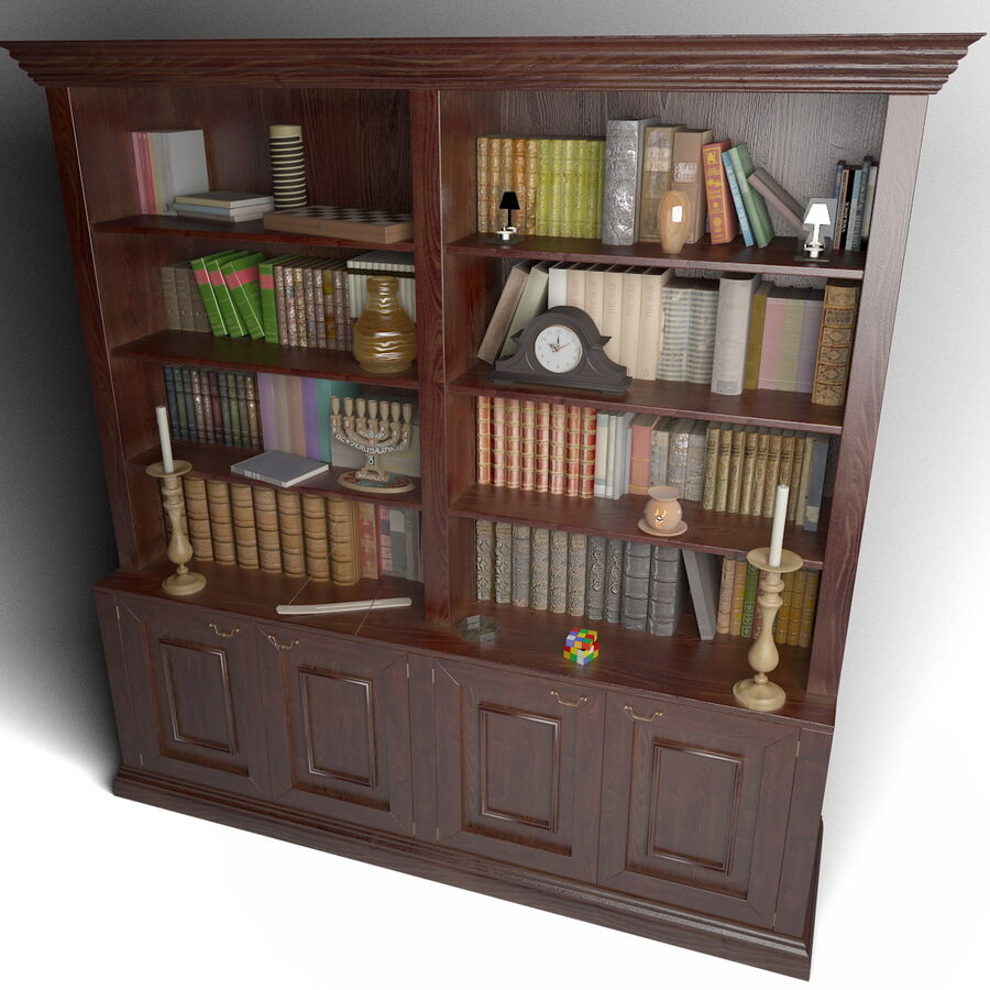 Bookshelf With Books royalty-free 3d model - Preview no. 3