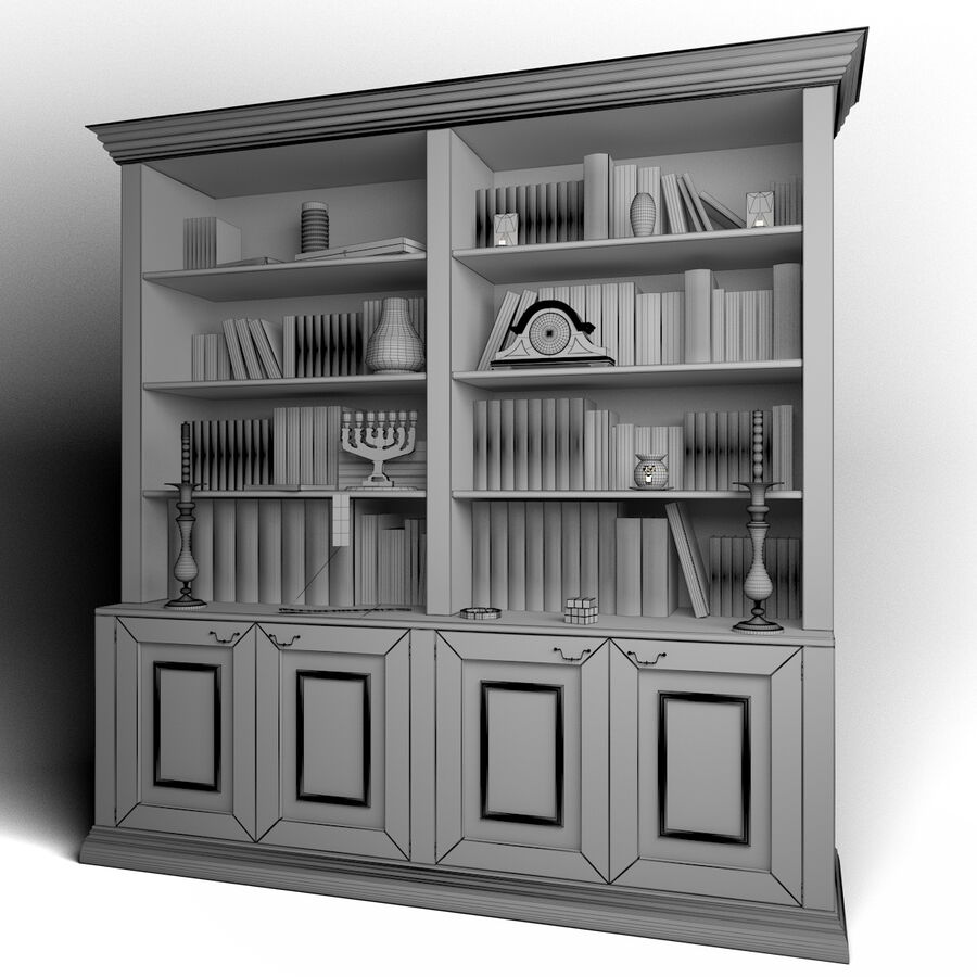 Bookshelf With Books royalty-free 3d model - Preview no. 7