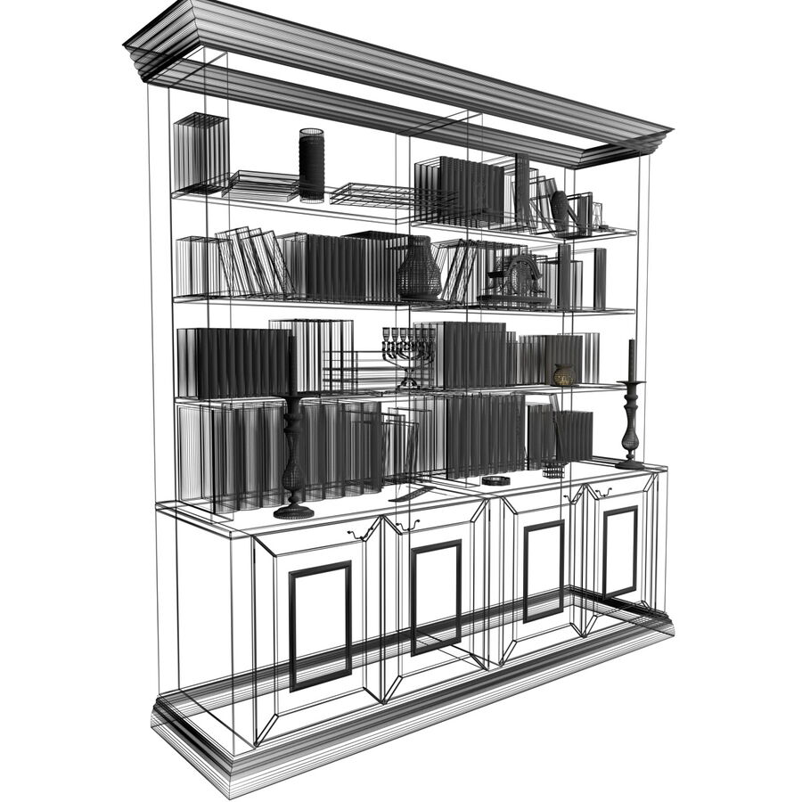 Bookshelf With Books royalty-free 3d model - Preview no. 14
