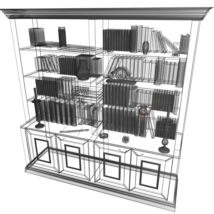 Bookshelf With Books royalty-free 3d model - Preview no. 13