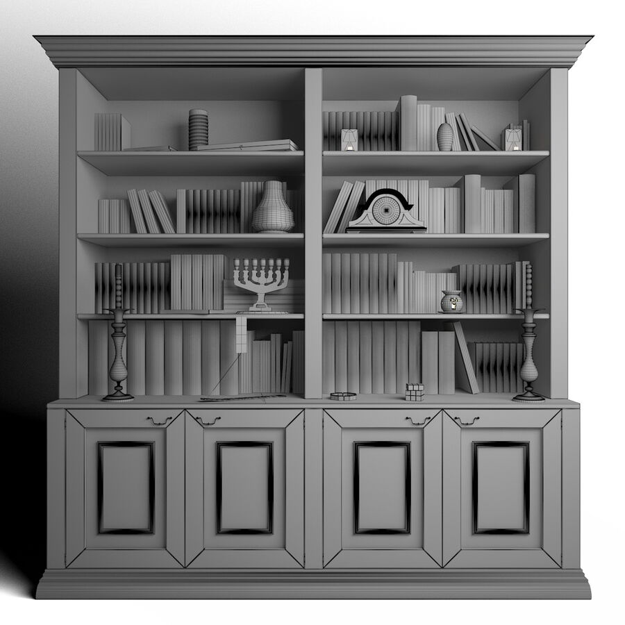 Bookshelf With Books royalty-free 3d model - Preview no. 6