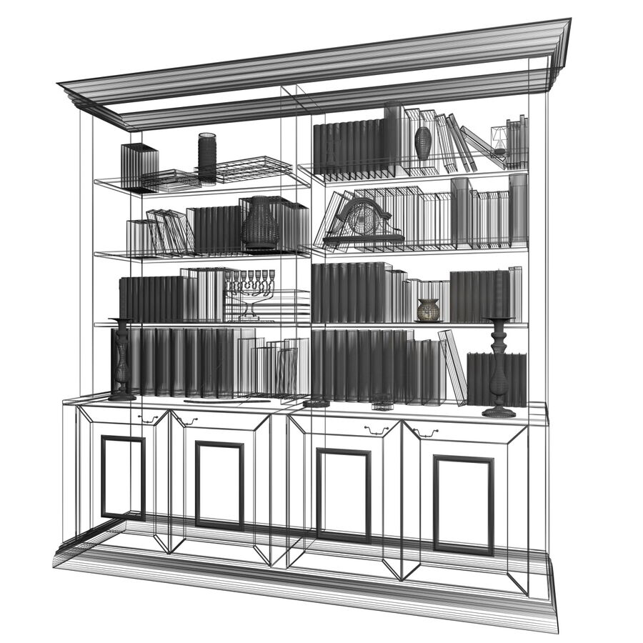 Bookshelf With Books royalty-free 3d model - Preview no. 12