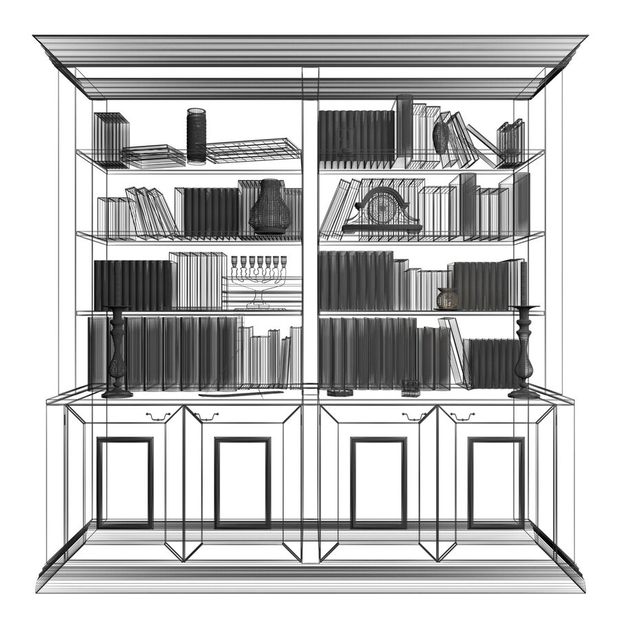 Bookshelf With Books royalty-free 3d model - Preview no. 11